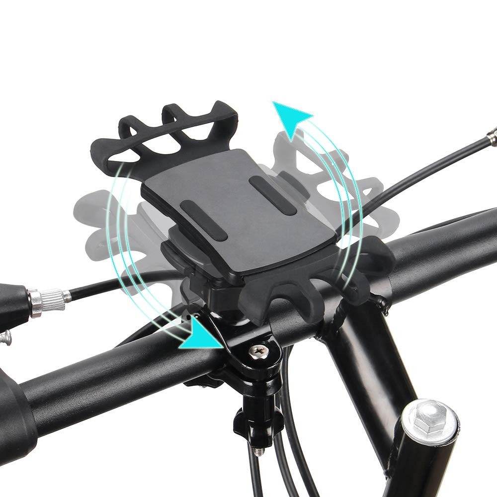Bike Phone Mount with Quickly Take Off Interface, Leepiya Universal Bicycle Cell Phone Holder Install on Handlebar for iPhone X 8 7 6 5 Plus, Galaxy S9 S8 S7 S6 Plus and All 3.5 to 6'' Mobile Phone/GPS