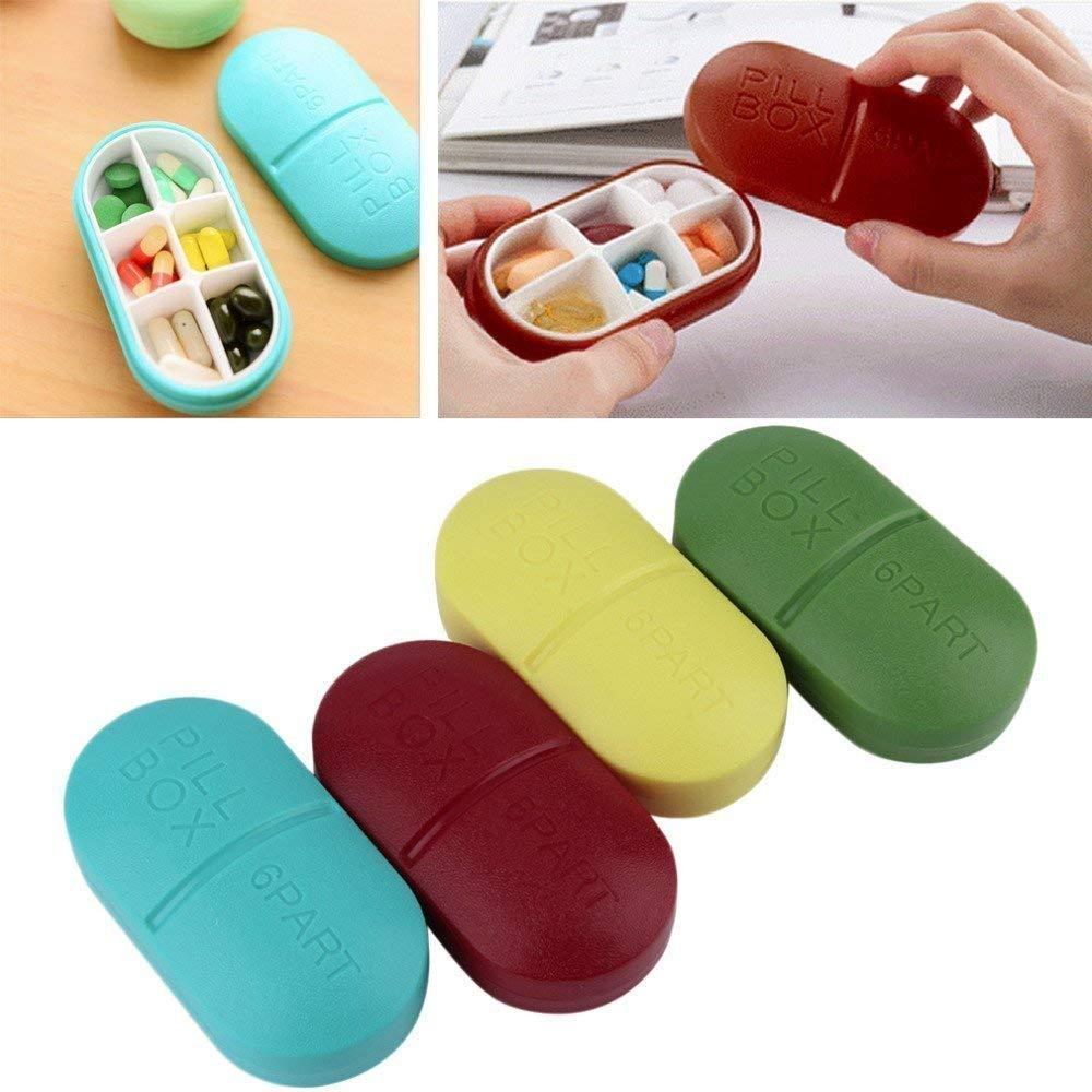 Portable 6-Slot Capsule Shape Pill Medicine Storage Box Organizer