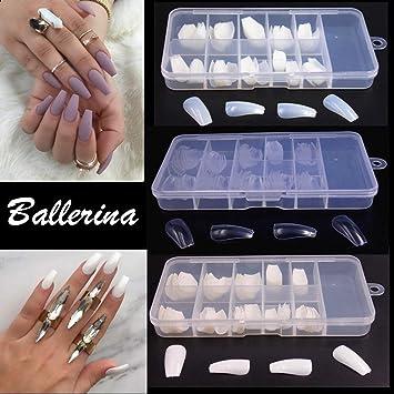 600pcs Elegant Long Ballerina Coffin Shape False Nails Half Cover Tips Nail Care | eBay