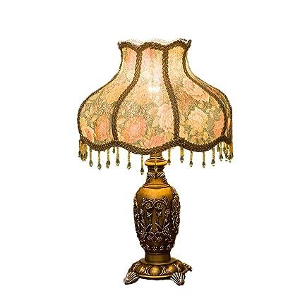 C-J-Xin Lámpara de mesa de resina de borla, pantalla de ...