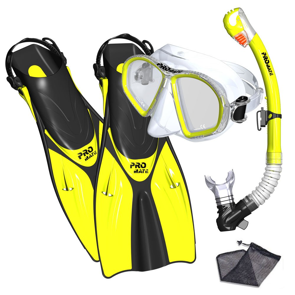 Promate Spectrum Snorkeling Fins Mask Snorkel Set, Yellow, SM