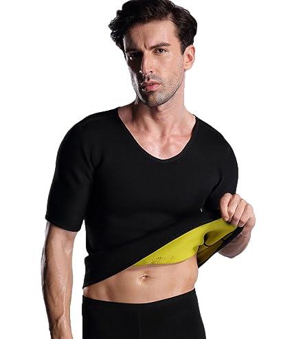 e30d21c9ca ValentinA Mens Hot Sweat Body Shaper T Shirt Tummy Fat Burner Slimming Sauna  Shirts Weight Loss Shapewear Black  Amazon.in  Sports