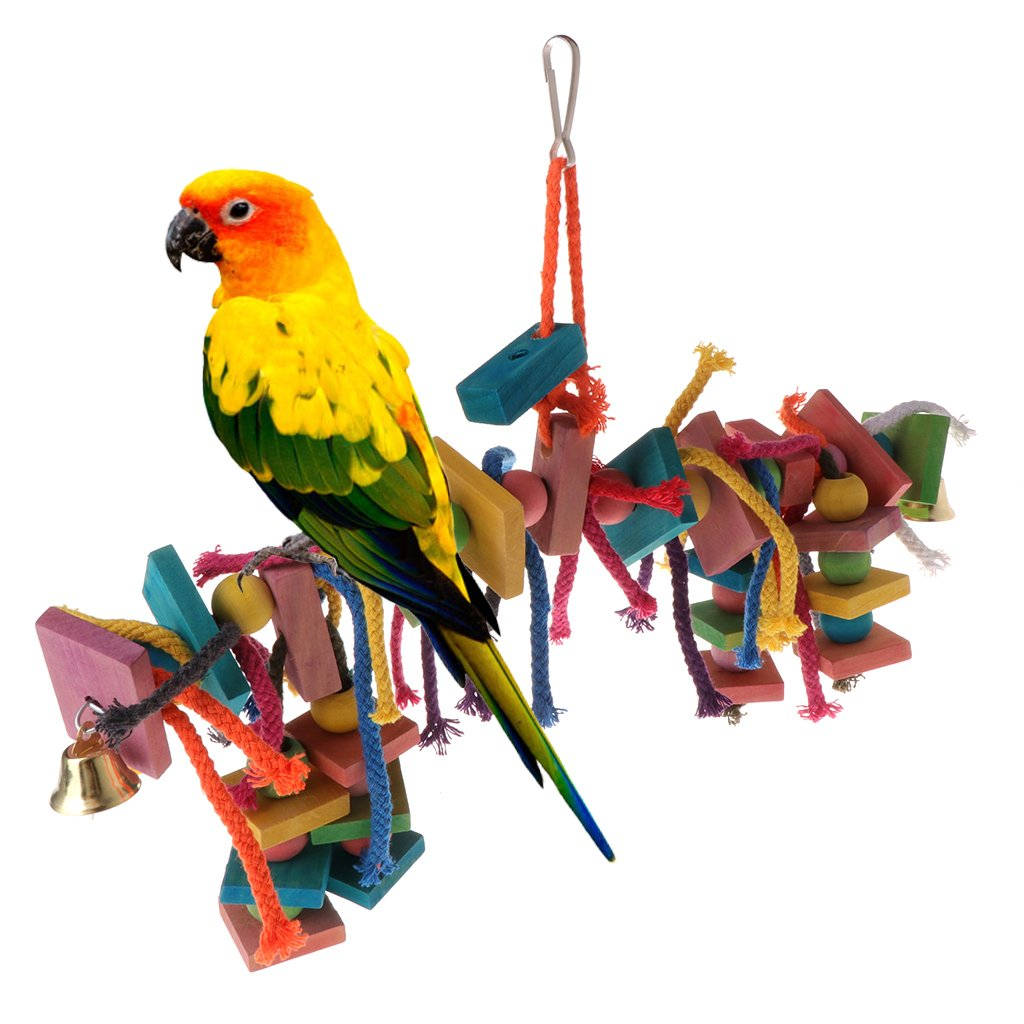 Wodwad Hot Parrot Toy Chew Bite Strands Colorful Rope Wooden Bird Parakeet Hanging Cage
