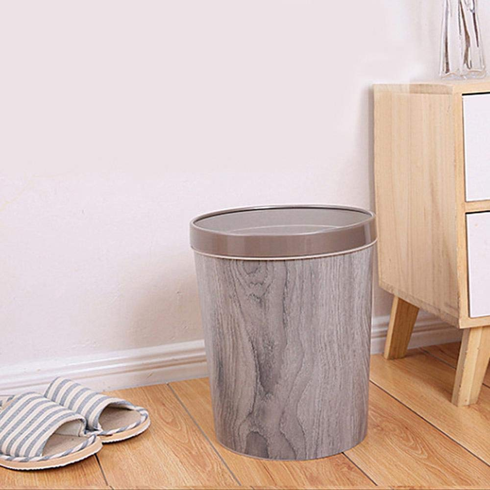 Womdee Wood Grain Garbage Can, 12L / 3.2 Gallon Wood Grain Garbage Can Plastic Pressure Ring Waste Basket Without Lid Household Storage Barrel Living Room Kitchen Bedroom European Style by Womdee (Image #8)