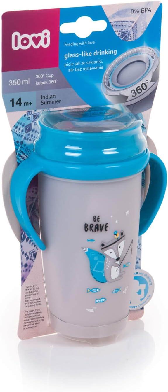Maniglie Profilate Antigoccia Sistema di Tenuta Blu Protezione Antibatterica SteriTouch Senza BPA LOVI Tazza per Bambini 360 Indian Summer Boy Mini Bicchiere Bambino 9+ Mesi 210 ml