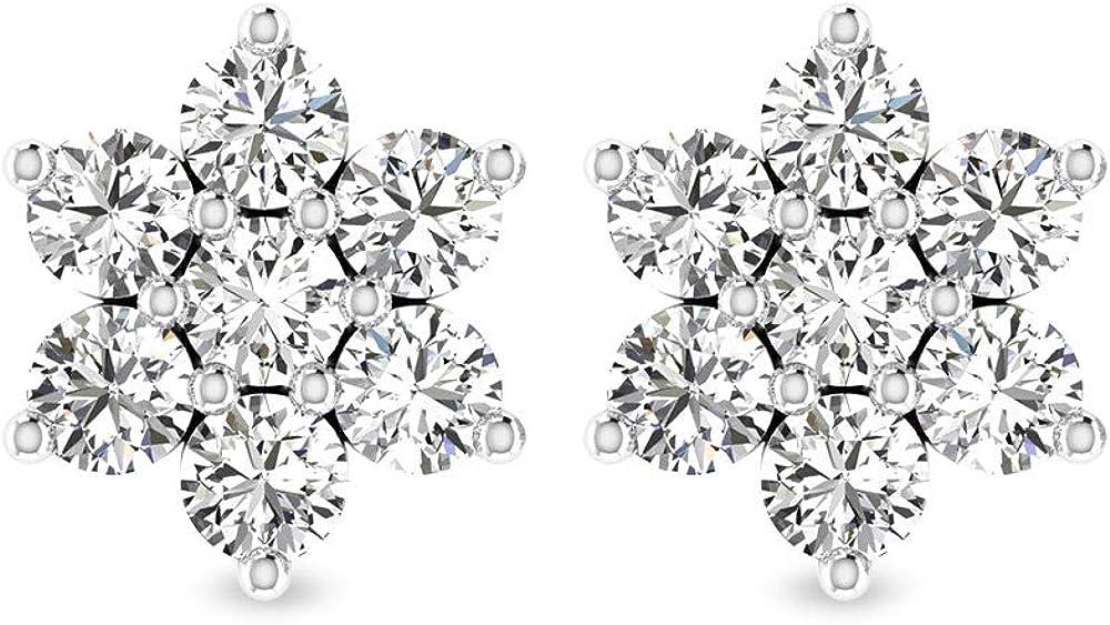 Pendientes de flor de diamante certificado IGI de corte brillante, de 0,91 ct, con halo de diamante antiguo IJ-SI, boda, boda, mujer, cumpleaños, regalo, tornillo hacia atrás