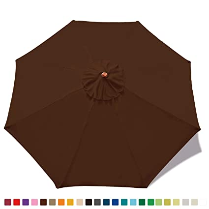 e83edc30718d ABCCANOPY 23+ Colors 9ft Market Umbrella Replacement Canopy with 8 Ribs  (Replacement Top Brown)