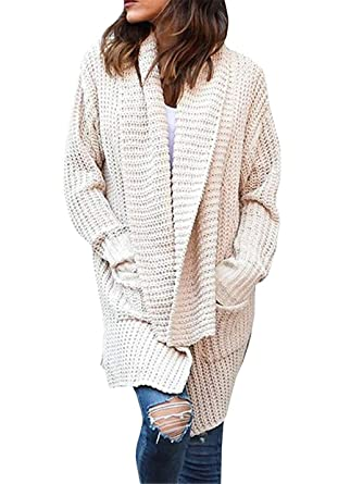 38e3a325a89c Coutgo Womens Chunky Shawl Collar Open Front Cardigan Sweaters Oversized  Long Sleeve Shrugs Pockets Outwear at Amazon Women s Clothing store