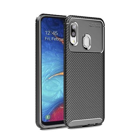 Hianjoo Compatible para Funda Samsung Galaxy A20e, Carcasa Samsung A20e Carbon Fibre Texture Suave y Flexible TPU Silicona Cases Parachoques ...