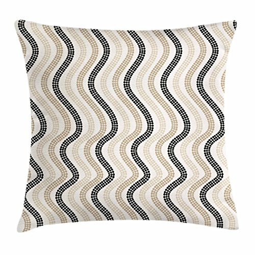 Lunarable Cream Throw Pillow Cushion Cover, Vertical Wavy Lines with Polka Dots Color Shade Abstract Retro Repeating Pattern, Decorative Square Accent Pillow Case, 20