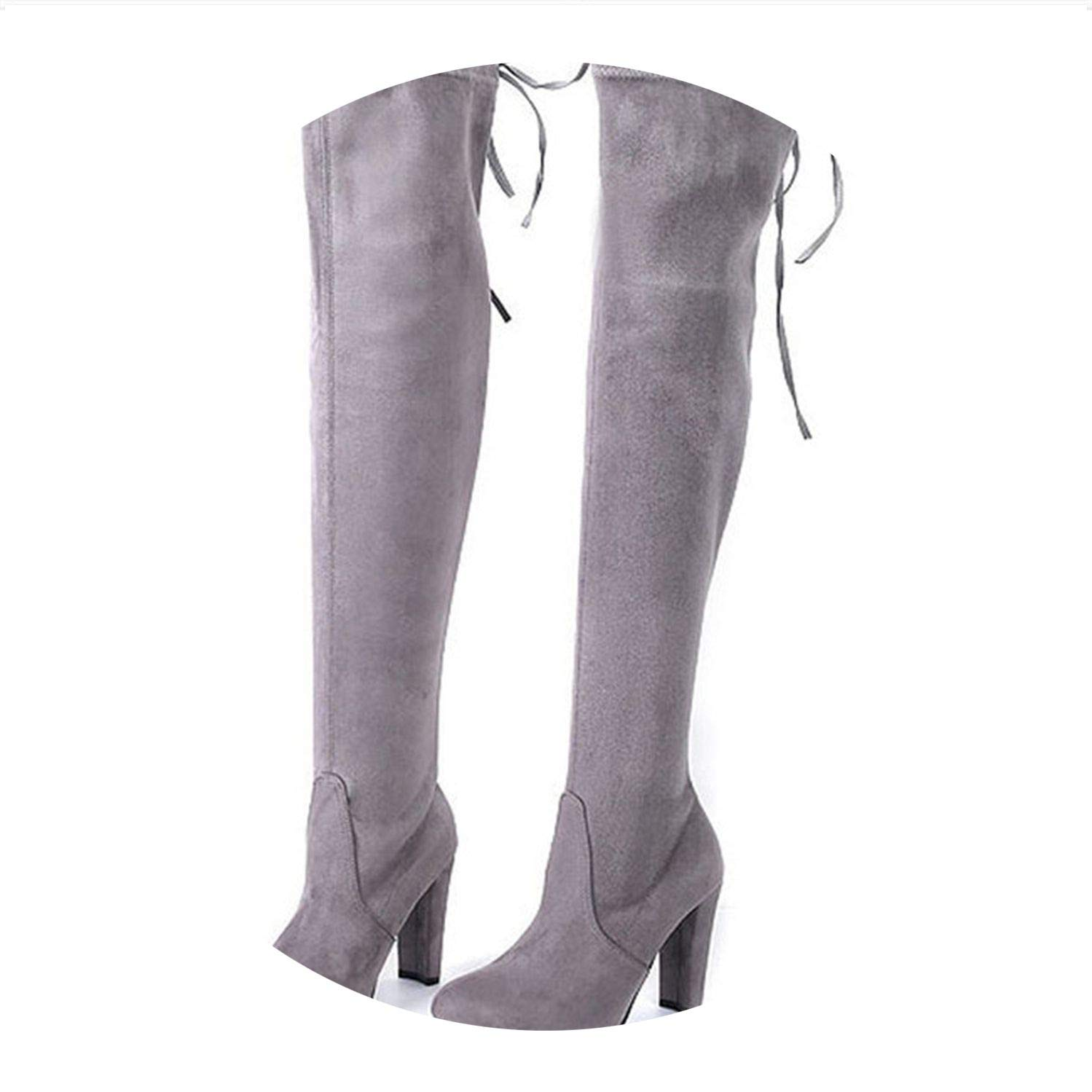Over The Knee Boots Lace Up High Heels Shoes Slim Thigh High Boots Botas Winter Shoes 34-43