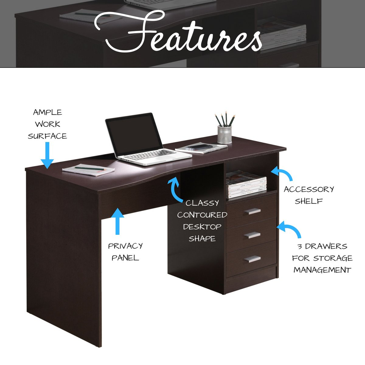 chocolate workstation computer storage dp complete amazon color dining desk kitchen com with
