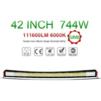 LED Light Bars 42inch 744W 4 Rows Quad CurvedCombo Beam 74400lm Cree Chips Highly Sealed Strip Lights for Jeep SUV Truck ATVs (42inch, Curve)