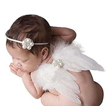 Baby Newborn Angel Feather Wings Fairy Toddler Photo Photography Props Halo Set