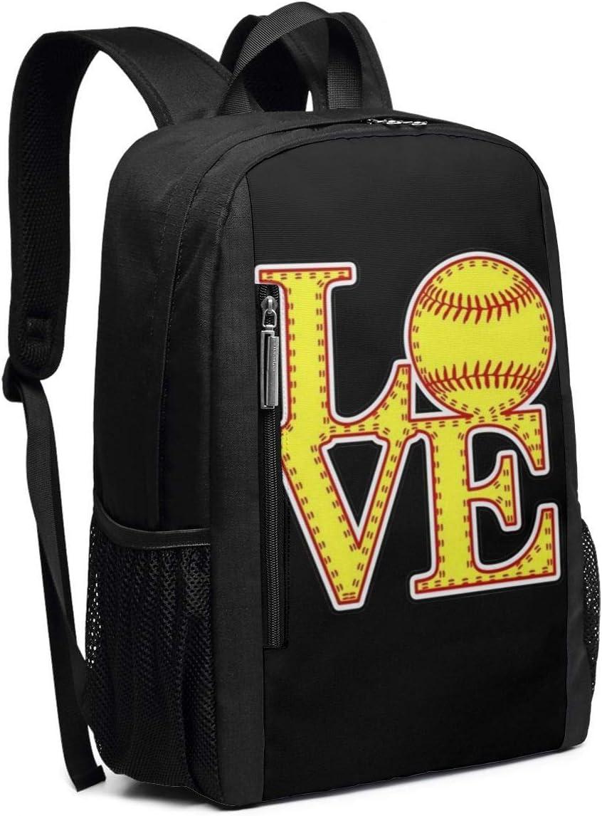 Love Softball School Rucksack College Bookbag Lady Travel Backpack Laptop Bag for Boys Girls
