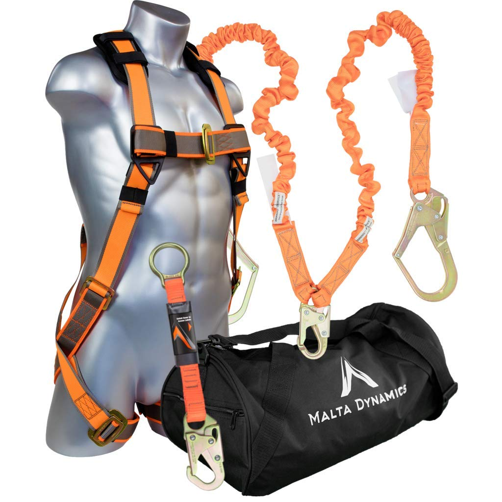 Warthog Pass Thru Safety Harness Fall Protection Kit with 6′ Double Leg Stretch Lanyard and D-Ring Extender by Malta Dynamics