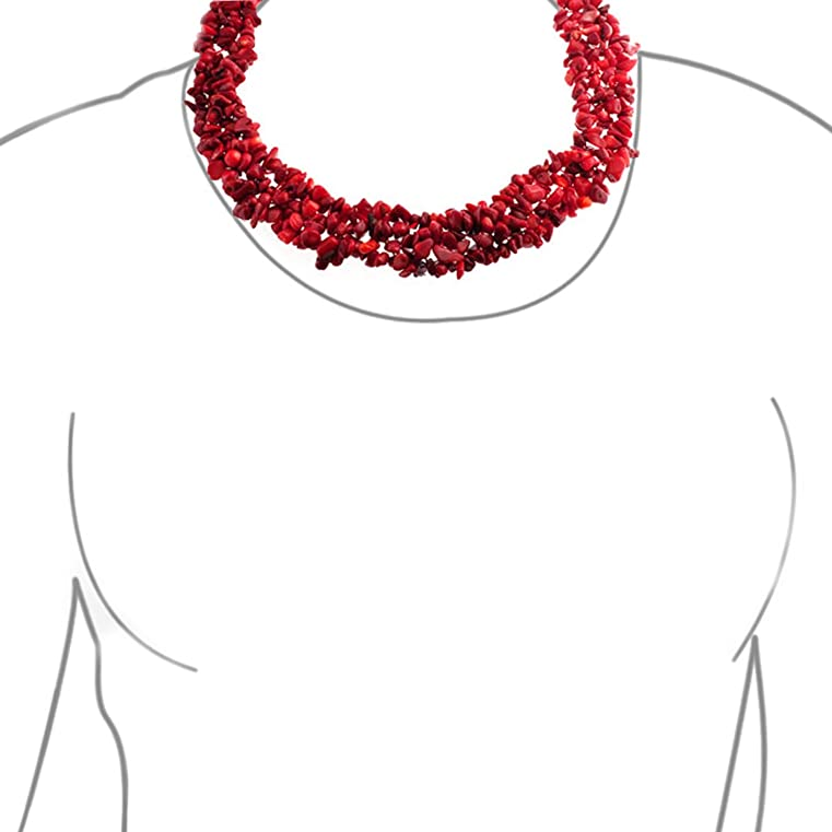 Bling Jewelry Multi Strands Dyed Red Coral Chips Chunky Silver Plated Necklace 18 Inches eI7kBh