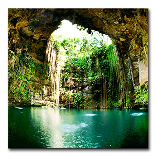 Wall Art Decor Poster Painting On Canvas Print Pictures Fantastic Ik-Kil Cenote Chichen Itza Mexico Landscape Cave Framed Picture for Home Decoration Living Room Artwork Chichen Itza Mexico Framed