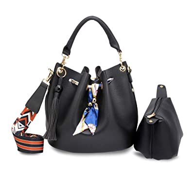 497fdea6ba81 Drawstring Handbags For Women Medium Size Shoulder Ladies Bucket Bag With Pouch  Faux Leather Luxury Look - Design 1 - Black  Amazon.co.uk  Shoes   Bags