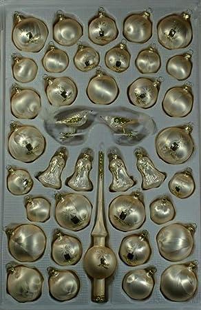 Glocken groß Eislack champagner Christbaumschmuck Lauschaer Glas das Original