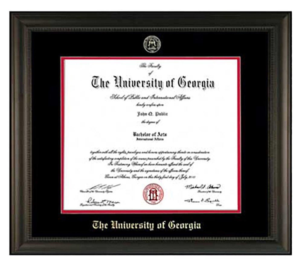 Embossed UGA Diploma Frame (Black) by Athens Art and Frame
