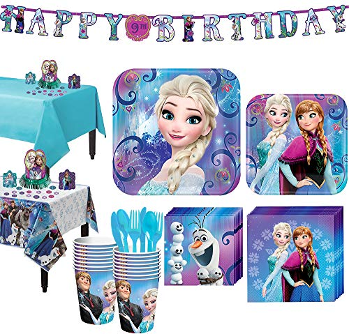 Party City Frozen Tableware Party Supplies for 16 Guests, Include Plates, Napkins, Utensils, a Banner, and Decorations ()