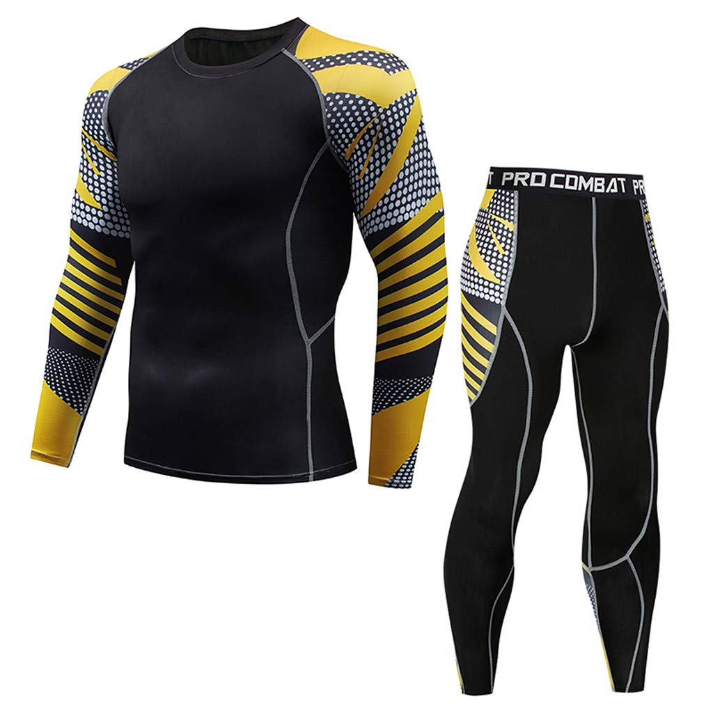 Men's Long Sleeve Compression Shirt,Mlide Casual Fitness T-shirt Fast Drying Elastic Tops Pants Athletic Sports Suit,Black D3XL
