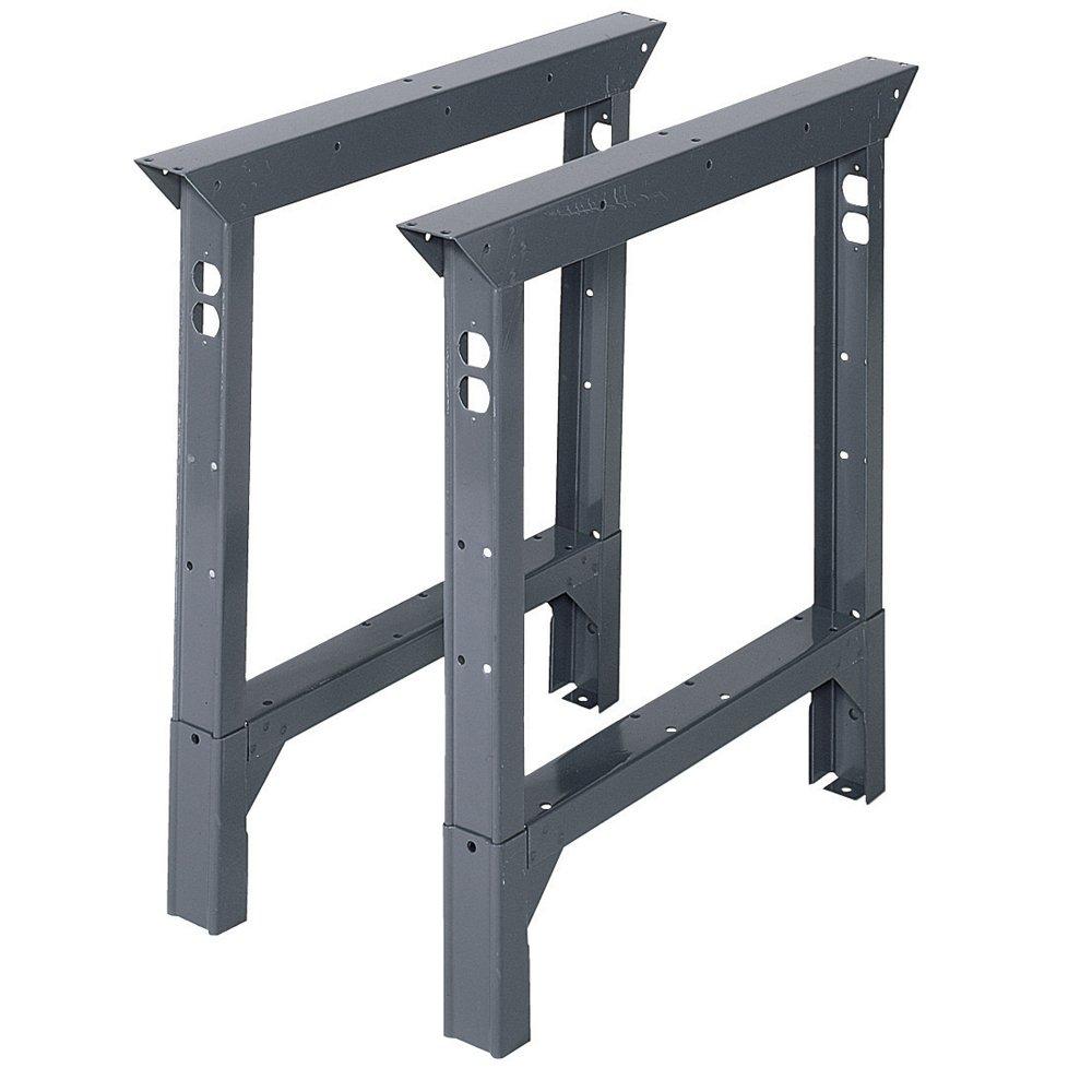 Edsal ABL36 Adjustable Height Industrial Grade Bench Leg, 4000 lbs Capacity, 2'' Width x 33'' Height x 36'' Depth, Gray