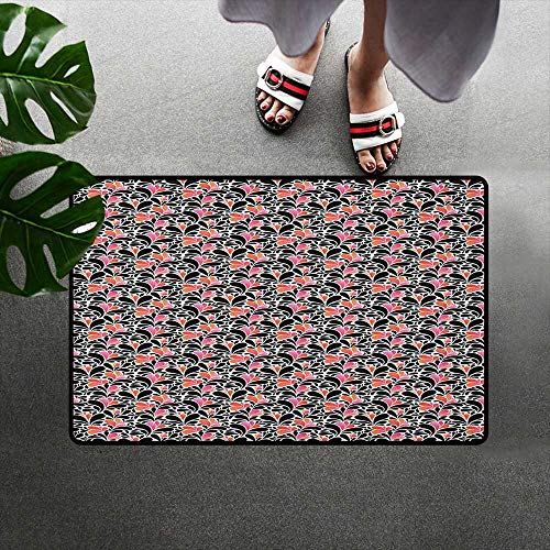 alilihome Patio mat Rubber Front Entrance Outside Doormat W19 x L31 INCH Abstract,Paisley Style Pattern of Water Splashes Ombre Motifs with Floral Influences, Coral Pink Black