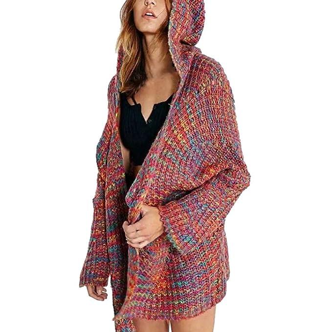 BBsmile Abrigos Mujer Invierno Mujer Manga Larga Invierno con Capucha Color Cardigan Abrigo de suéter: Amazon.es: Ropa y accesorios