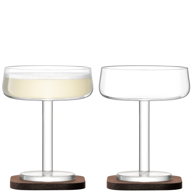 LSA International City Bar Champagne Saucer with Walnut Coaster, Glass, Clear, 250 ml, Set of 2 G1232-09-301