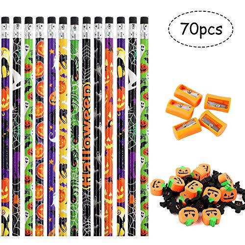 Haojiake Halloween Wood Pencils Set, 30 Halloween Pencils, 30 Halloween Erasers, 10 Pencil Sharpeners, for Kids, Teachers, Schools, Classroom Supplies