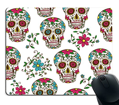 Smooffly Colorful Sugar Skull With Floral Ornament And Flower Seamless Pattern Mouse Pad Rectangle Non-Slip Rubber Mousepad Gaming Mouse Pad