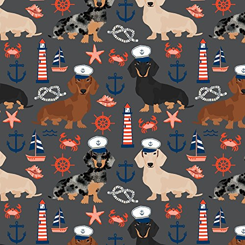 Nautical Quilting Fabric (Doxie Fabric Dachshund Dog Fabric Nautical Summer Dog Design - Charcoal by Petfriendly Printed on Fleece Fabric by the Yard by Spoonflower)