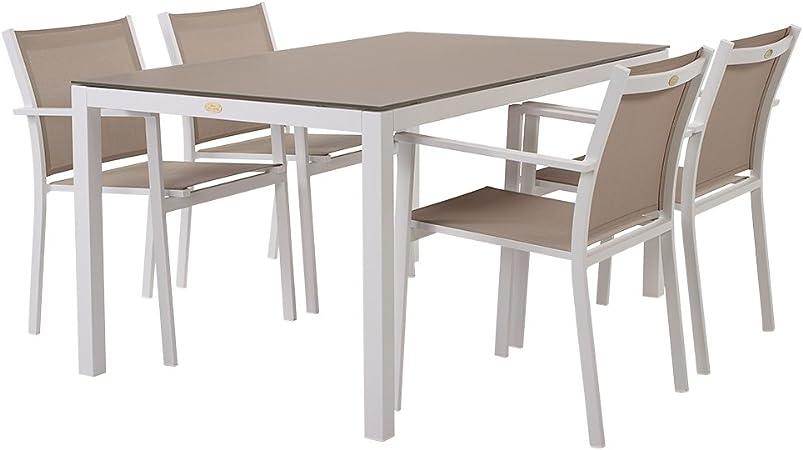 Rotin Design Table Et Chaises De Jardin Treves Beige En Alu