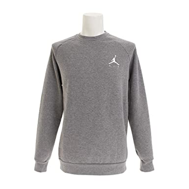 27ead1c07c3b Nike Mens Jordan Jumpman AIR Fleece Crew Sweatshirt Carbon Heather White  940170-091 Size