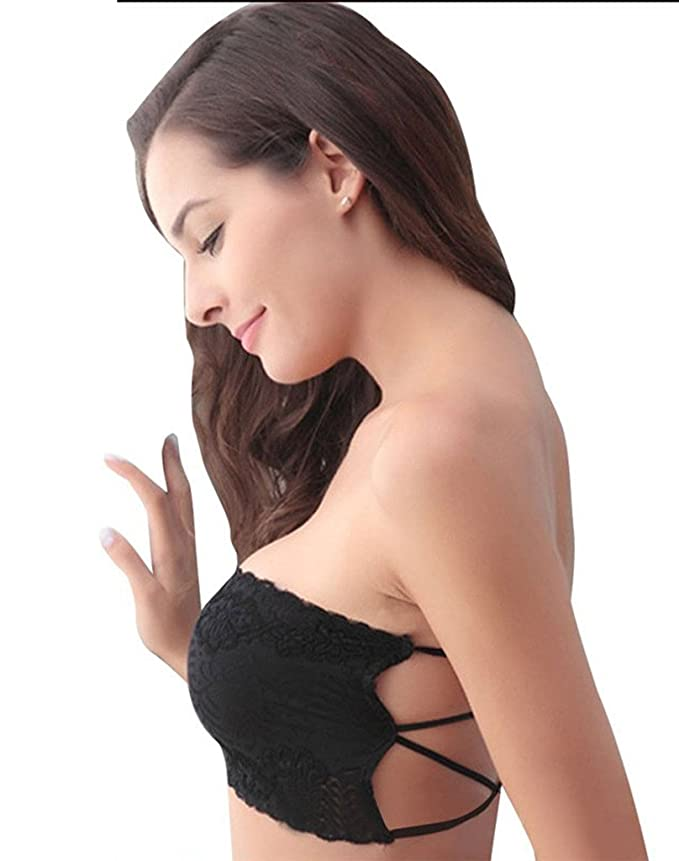 3c62ad3465 Dealseven Fashion Black Sexy Padded Bandeau Lace Boob Tube Top  Amazon.in   Clothing   Accessories