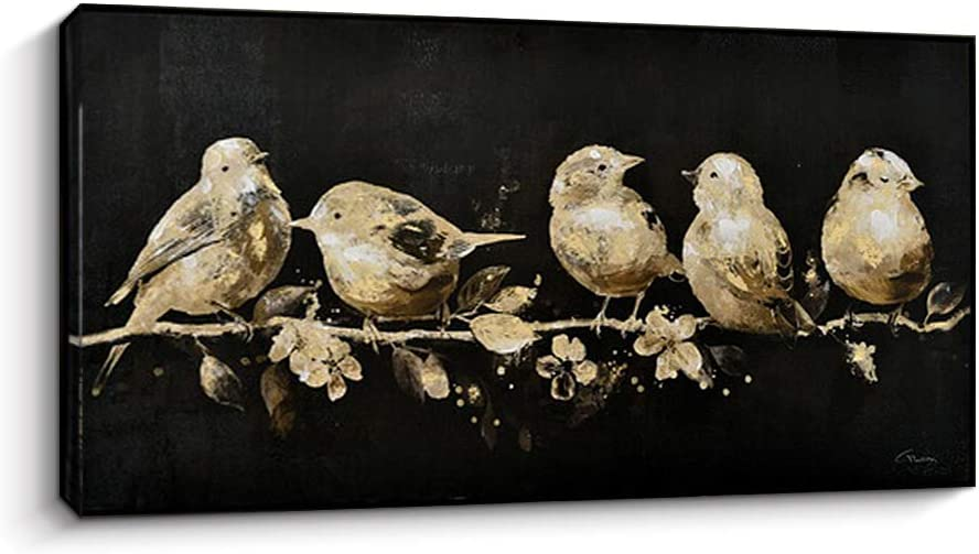 Pigort Funny Animal Canvas Wall Art - Birds Perching on Branches - Paintings Artworks for Wall Home Decor (20 x 40 inch,Perching Birds)