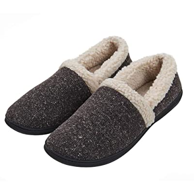 KAMOTAL Men's Cozy Memory Foam Slippers Fuzzy Plush Wool-Like Lining Slip on Indoor House Shoes Anti-Skid Rubber Sole | Slippers