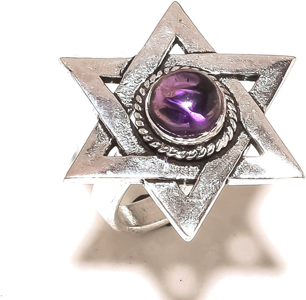 Sizable Gift Jewelry Purple Amethyst Quartz Sterling Silver Overlay Ring Size 7.5 US Handmade
