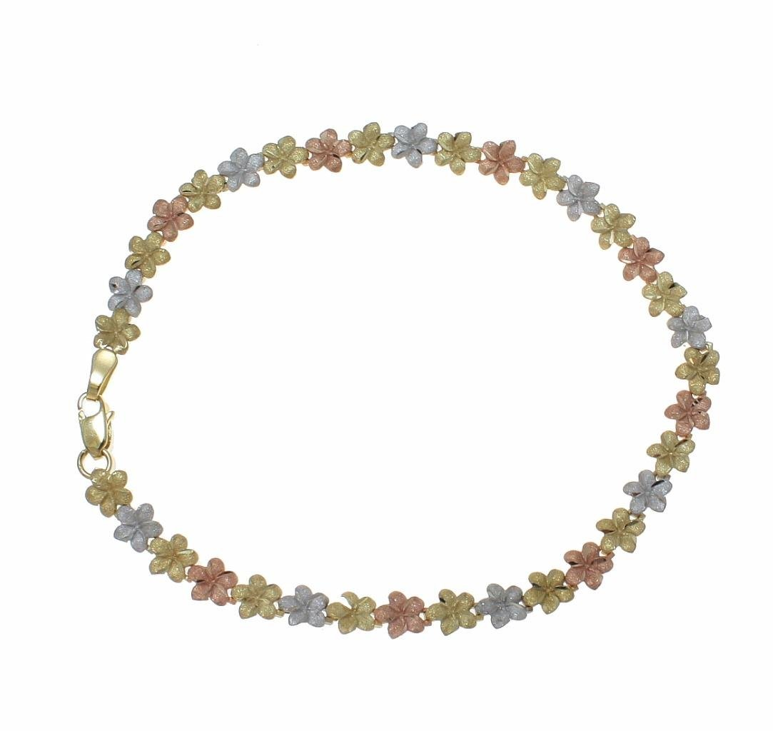 14k solid yellow white rose tricolor gold Hawaiian plumeria flower anklet 5.5mm 10''