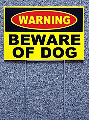"1 Set Attractive Popular Warning Beware Dog Yard Sign Anti-Burglar Surveillance Security Lawn Size 8"" x 12"" Yellow with Stake"