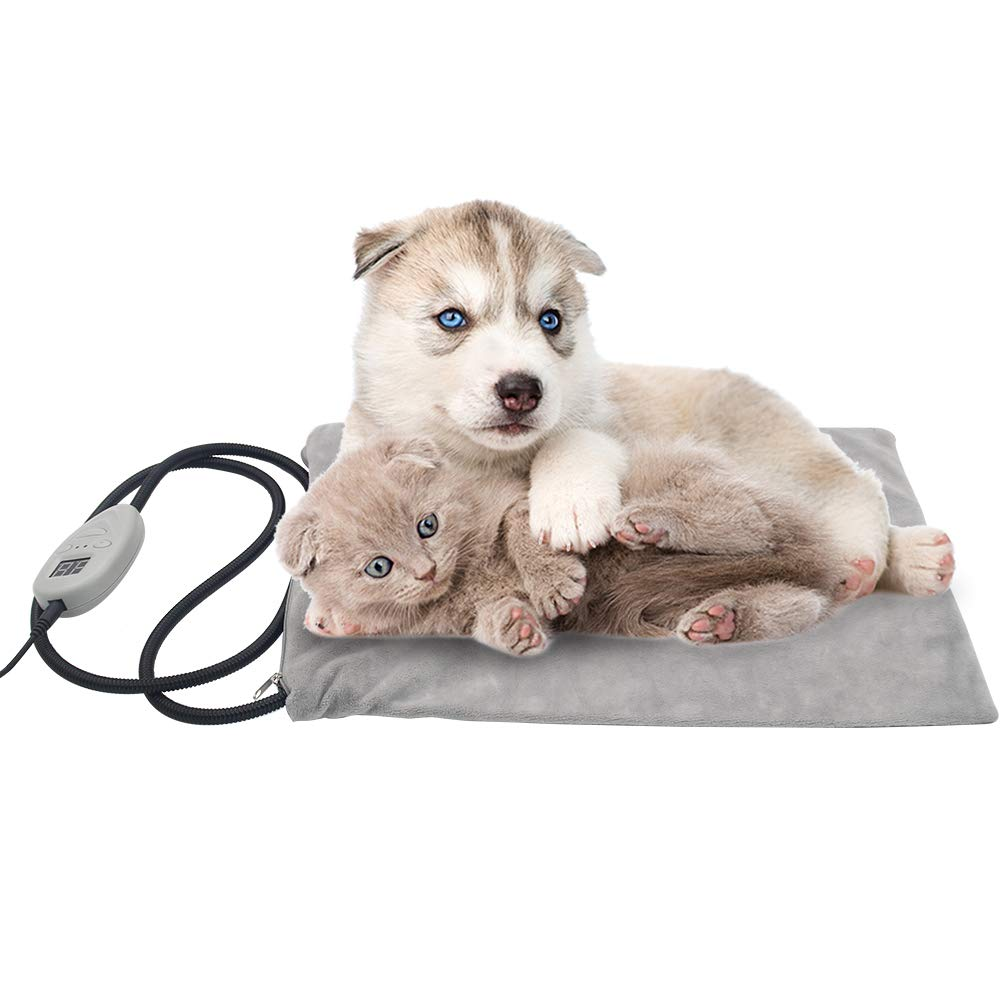 OFPUPPY Pet Heating Pad for Cat - Safety Waterproof Outdoor & Indoor Warming Mat Adjustable Chew Resistant with Removable Fleece Cover 15.8'' x 11.8''