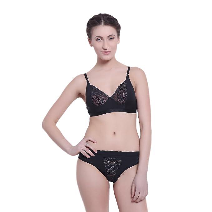 217dc9e5f The Alice s Wonderland Black Bra Panty Set with Fancy Net   Hosiery Non  Padded (Branded