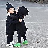 Miiyana Baby Girls Boys Winter Hooded Fleece Jacket Coat Cartoon Dinosaur Zipper Outwear Black