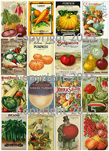 (Victorian Vintage Seed Pack Vegetable Collection Collage Sheet)