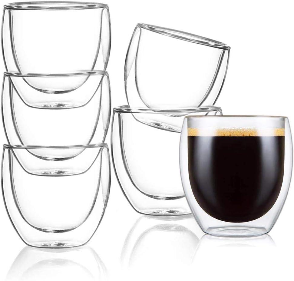 [6-Pack,8.5 OZ] Double Wall Glass Coffee Mugs, Insulated Coffee Mug, Clear Espresso Cups, Glass Cappuccino Cups, Tea Cups, Latte Cups, Crystal Coffee Glass Cups, Espresso Coffee Gifts