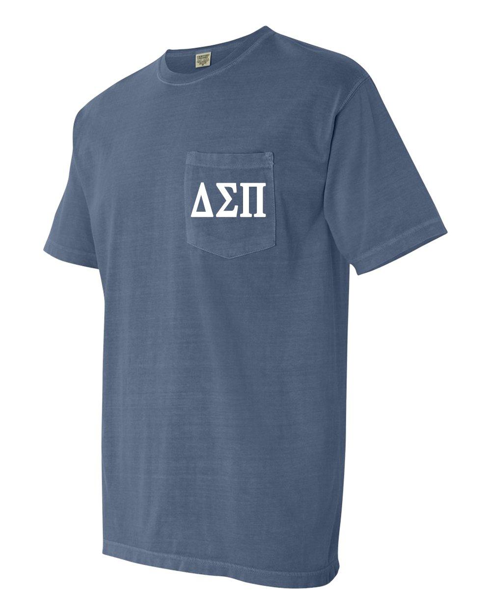 Delta Sigma Pi Business Fraternity Comfort Colors Pocket T-Shirt (Medium, Blue Jean)