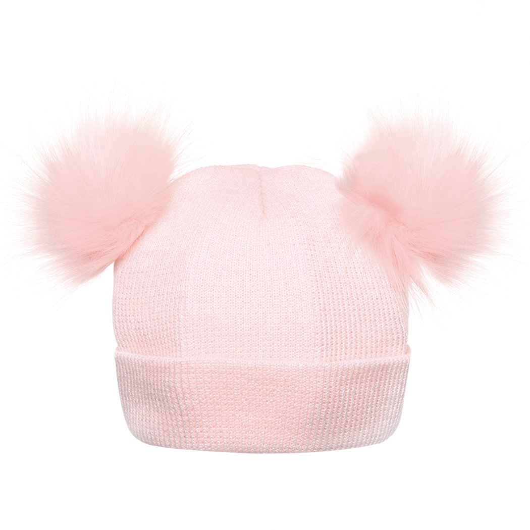 mioim Boys Girls Bobble Knit Beanie Hat Faux Raccoon Double Fur Pompom Cap Toodlers Skulliers 1~3 Years SAIUK*223546403
