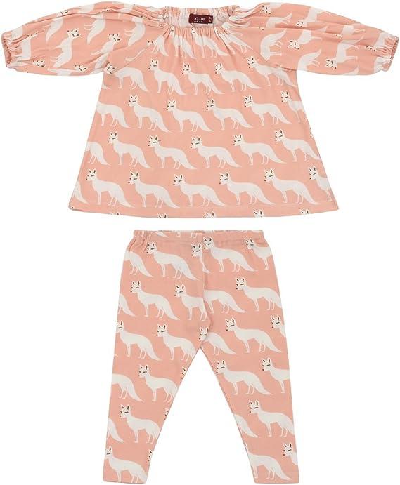 6-12 Months MilkBarn Organic Cotton Infant and Toddler Leggings Pink Fox